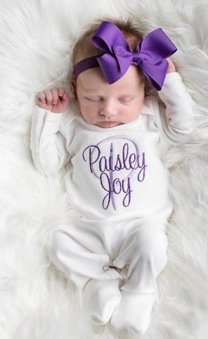 White & Purple Personalized Newborn Romper with Matching Headband