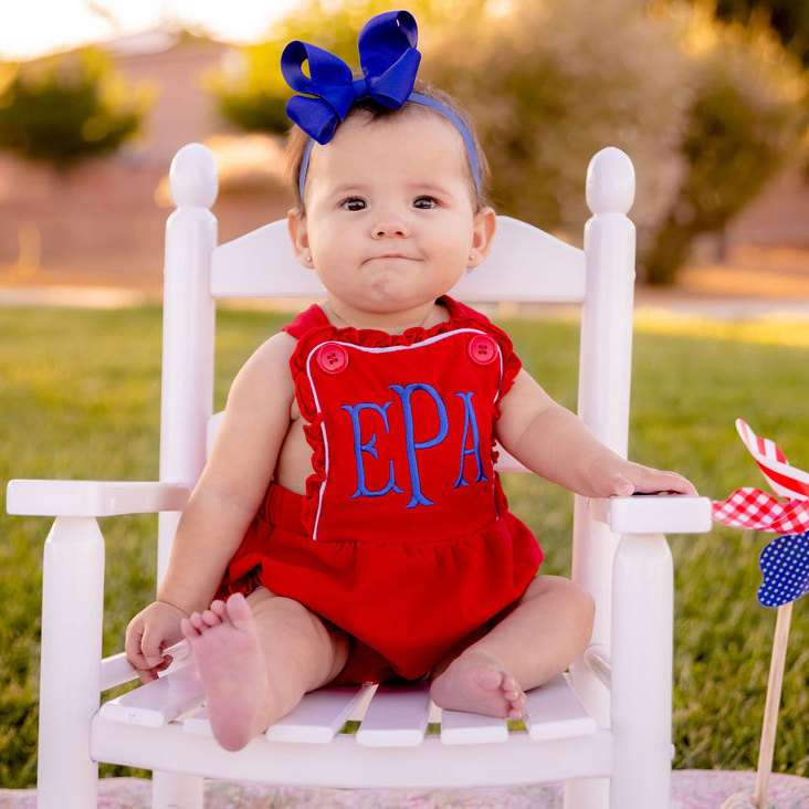 Personalized Patriotic Red Ruffle Romper with Matching Headband
