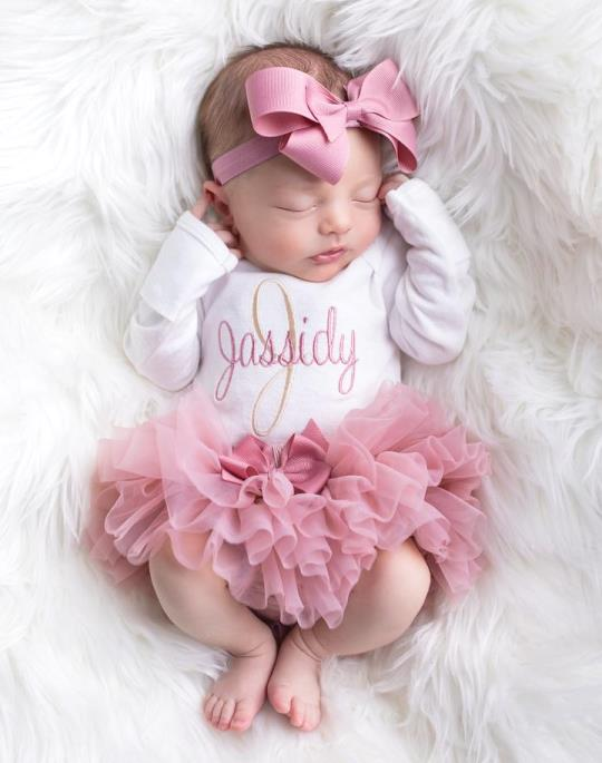 Dusty Rose & Beige Personalized Onesie 3pc. Tutu Diaper Cover and Headband Outfit Set
