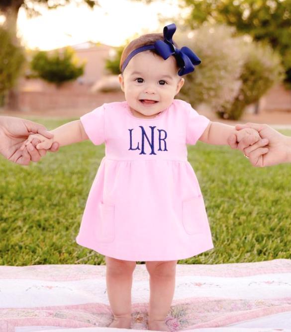 Pink & Navy Personalized Pocket Dress