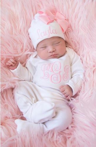 Personalized White & Pink Newborn Romper with Matching Hat