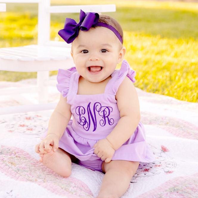Lavender Personalized Flutter Strap Summer Dress