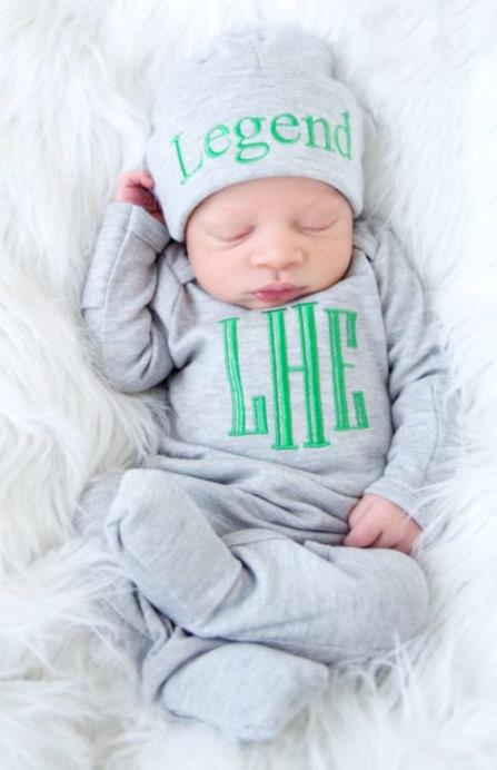 Newborn Boys Personalized Gray & Green Romper with Matching Hat