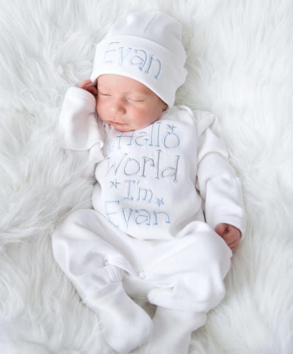 Boys Baby Blue Gray & White Newborn Hello World Romper with Matching Hat