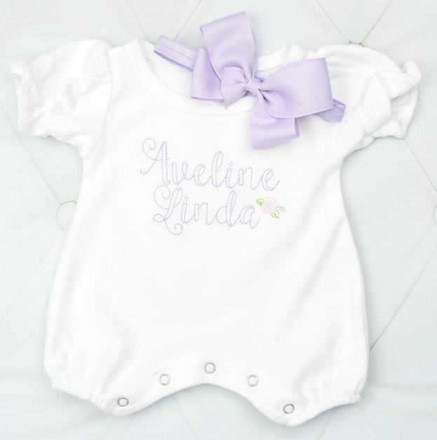 Personalized White & Lavender Bubble Romper with Matching Headband Bow