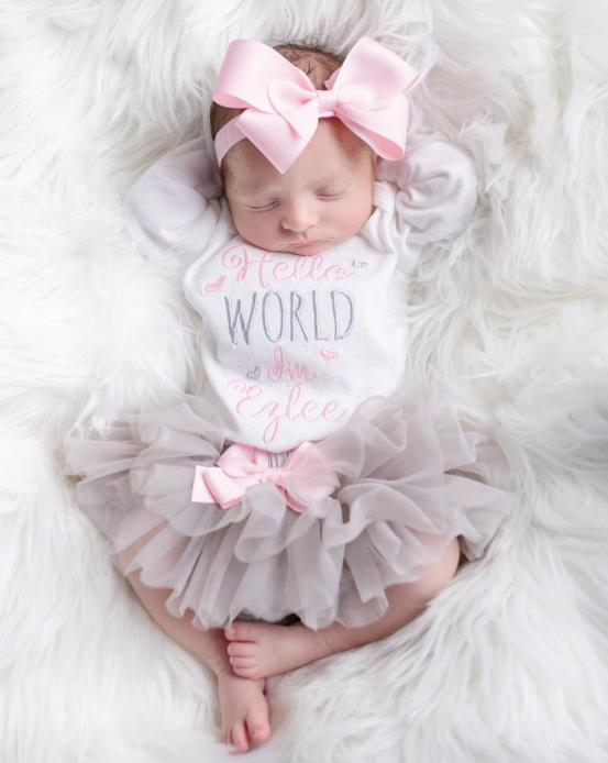 Newborn Girl Hello World Personalized Onesie 3pc. Tutu Diaper Cover and Headband Outfit Set
