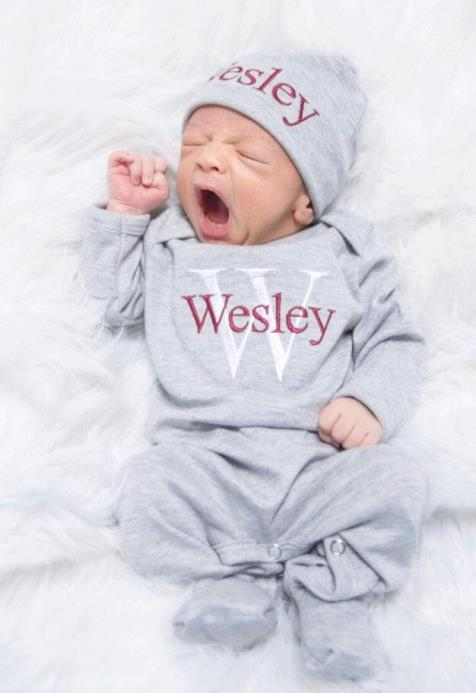 Boys Maroon & Gray Personalized Newborn Romper with Matching Hat