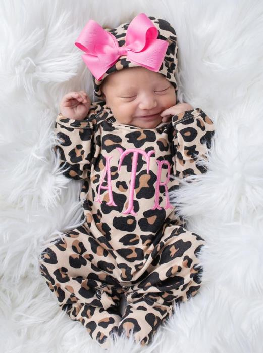 Newborn Hot Pink & Leopard Personalized Romper with Matching Hat