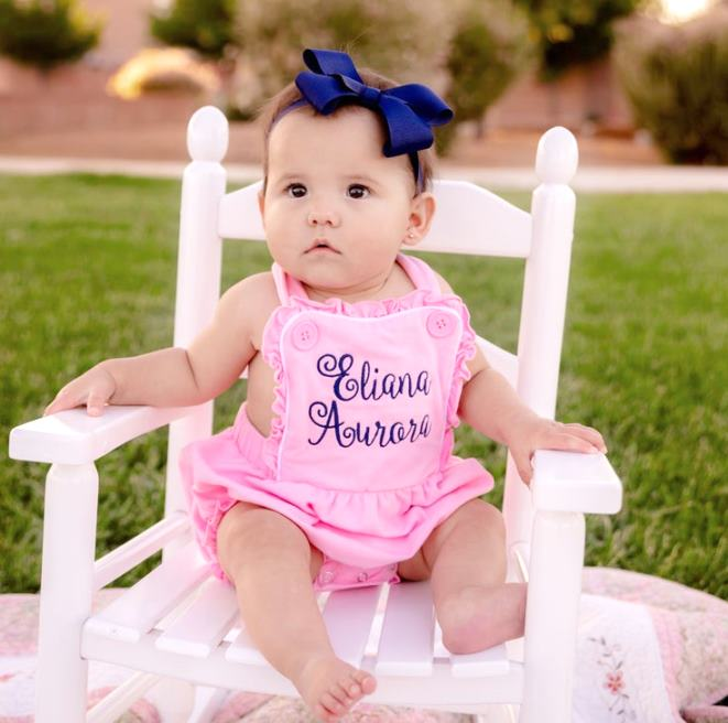 Pink & Navy Blue Personalized Ruffle Romper with Matching Headband
