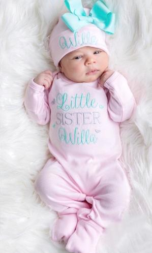 Baby Pink & Aqua Personalized Little Sister Newborn Romper with Matching Hat