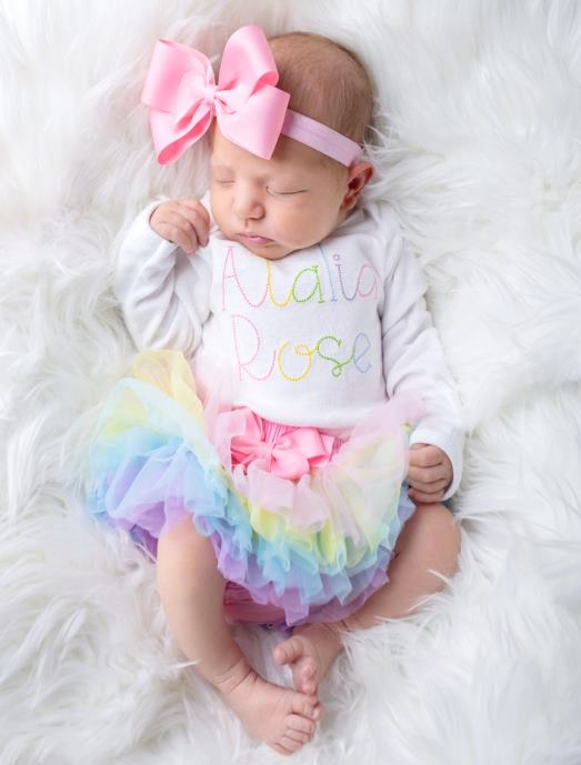 Colorful Rainbow 3pc. Onesie Tutu Diaper Cover and Headband Outfit Set