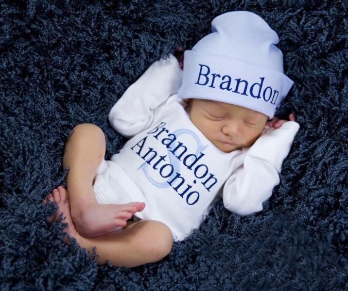 Boys Baby Blue, Navy & White Newborn Personalized Outfit with Matching Hat