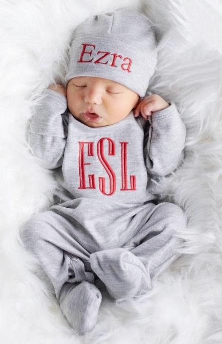 Boys Gray & Red Newborn Personalized Romper with Matching Hat
