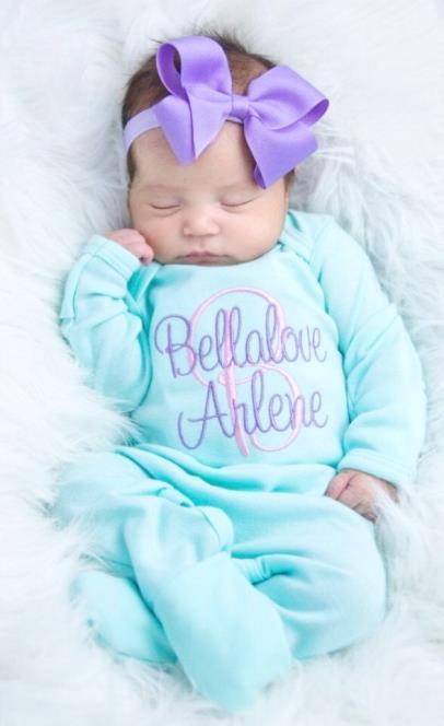 Aqua & Lavender Personalized Newborn Romper and Matching Headband Outfit Set