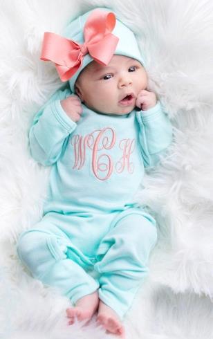 Aqua & Coral Newborn Monogrammed Romper with Matching Hat