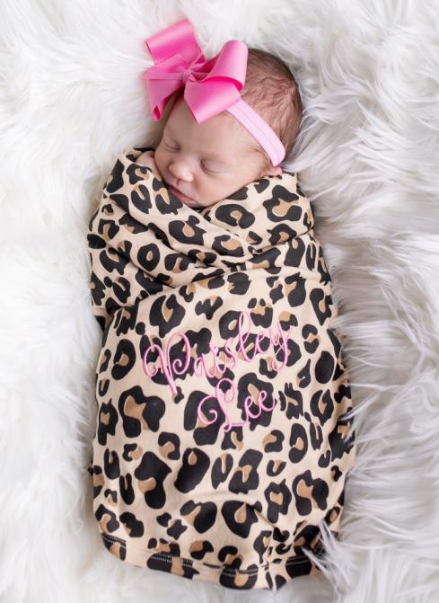 Baby Girls Personalized Leopard & Hot Pink Swaddle Blanket Set with Bow Headband