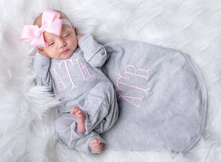 Gray & Pink Monogrammed Romper with Matching Headband