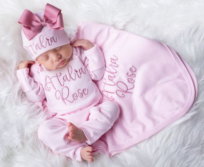 Pink & Mauve Newborn Personalized Romper with Matching Hat