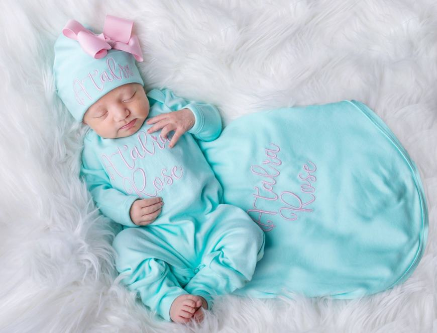 Personalized Aqua & Pink Newborn Outfit with Matching Hat