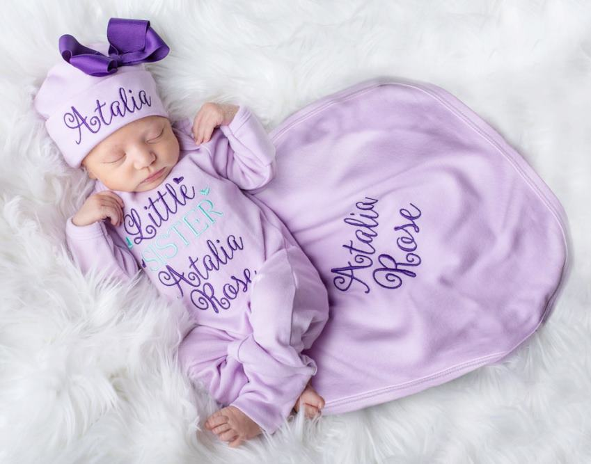 Lavender & Aqua Little Sister Personalized Romper with Matching Hat