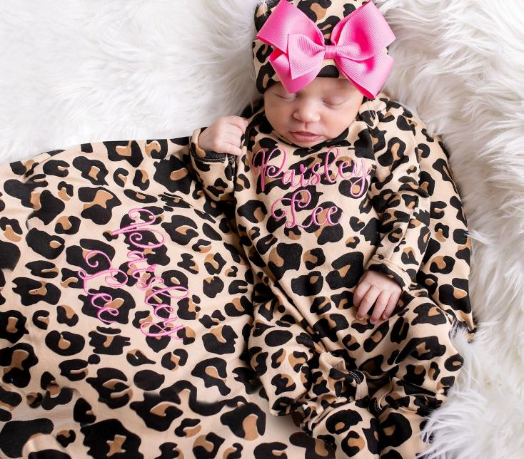 Personalized Leopard & Hot Pink Romper with Matching Hat