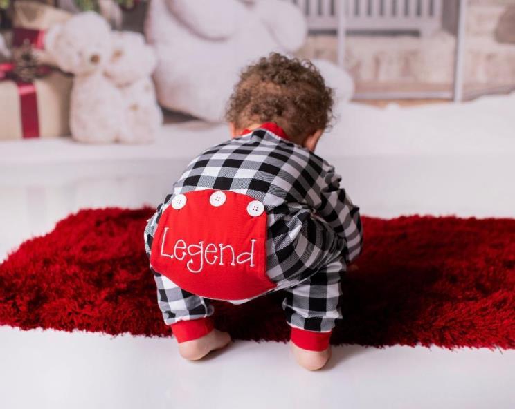 Baby Boys Personalized Buffalo Plaid Christmas Pajamas