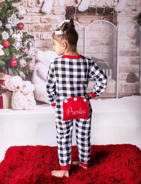 Baby Girls Personalized Buffalo Plaid Christmas Pajamas