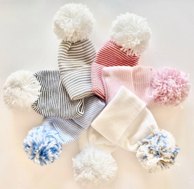 Choose Color - Newborn Hospital Hat with Pom Pom