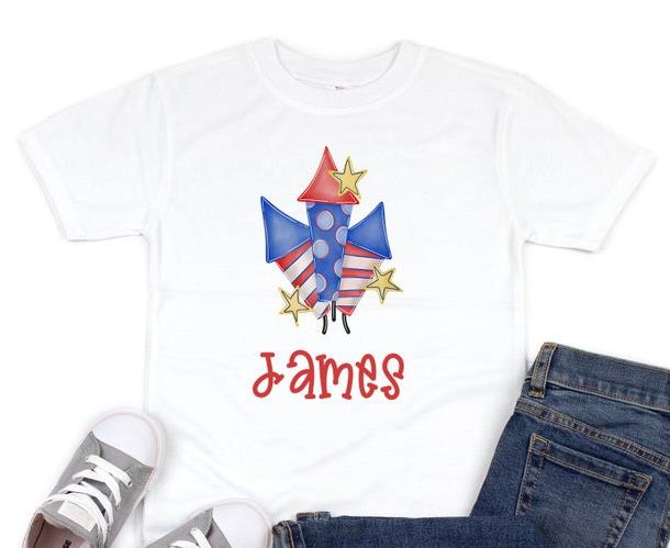 Boys 4th of July Fireworks Personalized Shirt