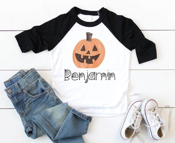 Boys Personalized Jack O Lantern Halloween Shirt
