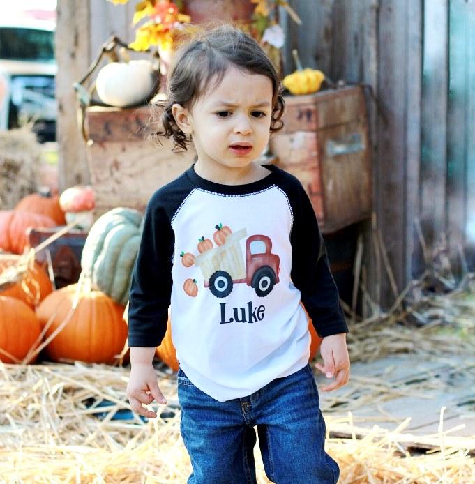 Boys Personalized Pumpkin Dump Truck Fall Shirt