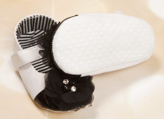 Black & White Crib Shoes with Matching Headband Gift Set