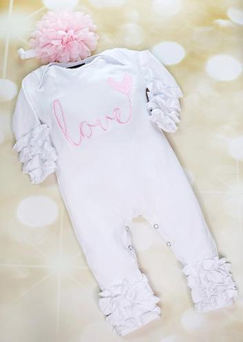 Pink & White LOVE Ruffle Romper with Matching Headband