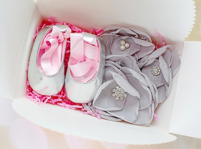 Silver & Pink Crib Shoes with Matching Flower Headband Gift Set