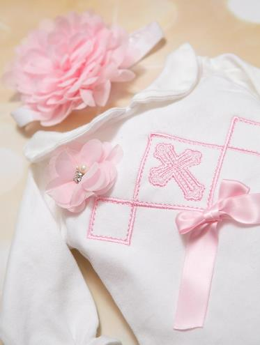 Pink & White Embroidered Cross Bodysuit with Matching Headband