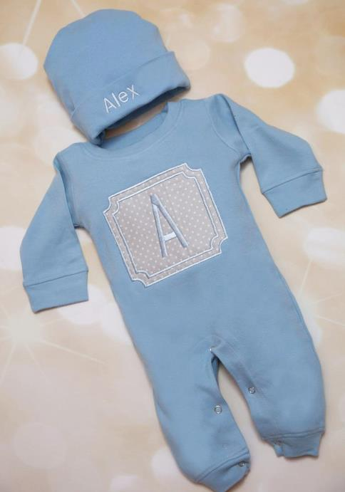 Boys Personalized Blue & Gray Romper with Matching Hat