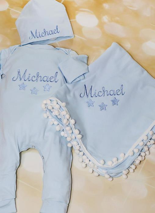 Boys Light Blue Personalized Star Romper with Matching Hat