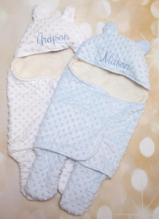 Baby Boy Personalized Minky Swaddle with Hood