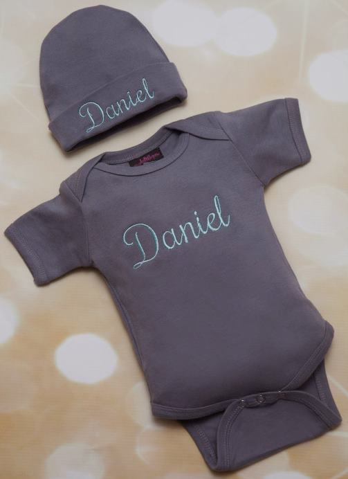 Boys Charcoal Grey Personalized Bodysuit with Matching Hat
