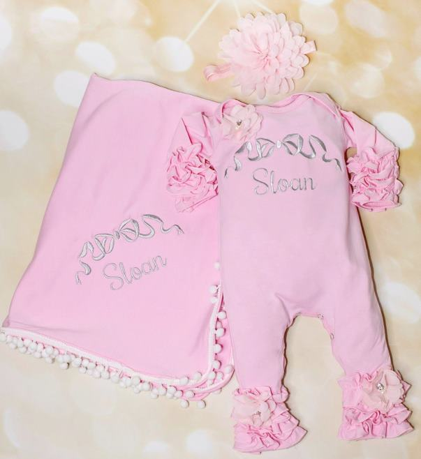 Baby Girls Personalized Embroidered Pink Ruffle Romper with Headband