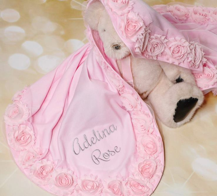 Baby Girls Personalized Pink Receiving Blanket with Chiffon Flowers
