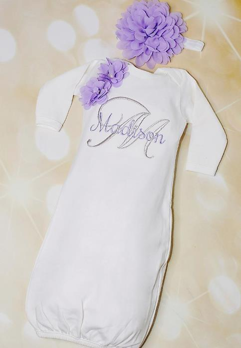 White Personalized Flower Gown with Matching Headband