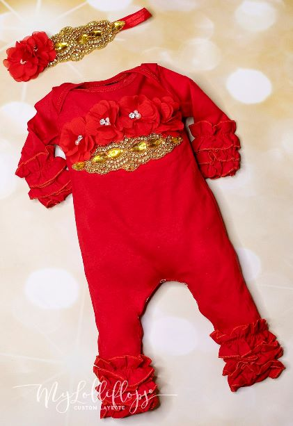Red & Gold Couture Holiday Ruffle Romper with Matching Headband