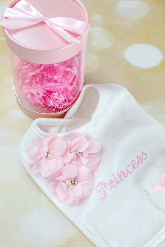 Personalized Newborn Bib & Tiny Mittens Gift Set