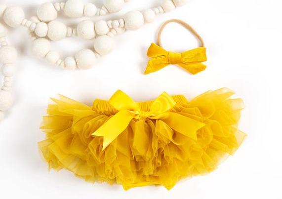 Mustard Tutu Diaper Cover with Matching Headband
