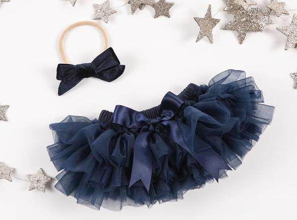 Navy Blue Tutu Diaper Cover with Matching Headband
