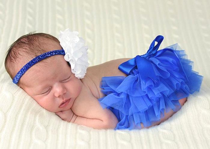 Royal Blue & White Diaper Cover with Matching Headband