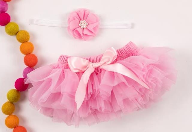 Pink & White Tutu Diaper Cover with Matching Headband