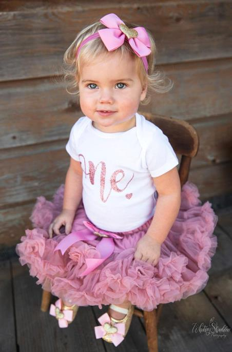 Girls Rose Gold 1st Birthday Outfit