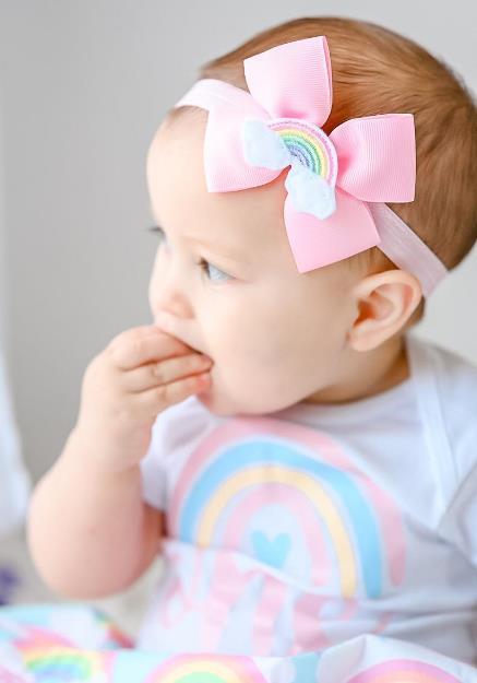 Sweet Rainbow Pink 1st Birthday Bodysuit